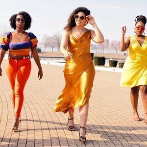 Yellow Cowl Neck Midi Slip Dress